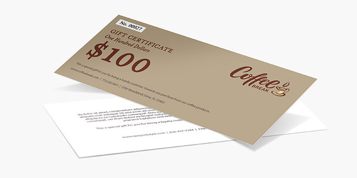 Custom Gift Certificate Printing   PrintRunner com